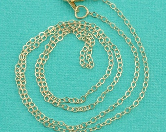 14K SOLID Yellow Gold Cable Chain Necklace 16 Inch Length