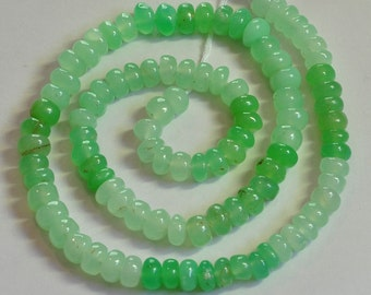 "6-6.8mm Chrysoprase Smooth Rondelle Beads 14.5"" Strand"
