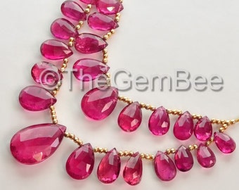 Pink RUBELLITE TOURMALINE Faceted Pear Briolette Beads