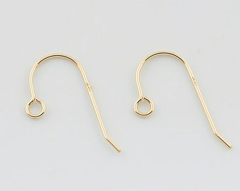 Solid 14K Yellow Gold Earwire 11mmx14mm 1 PAIR