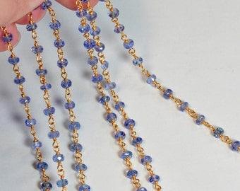 28 Gauge Gold Filled 3MM Tanzanite Gemstone Chain 18 INCH