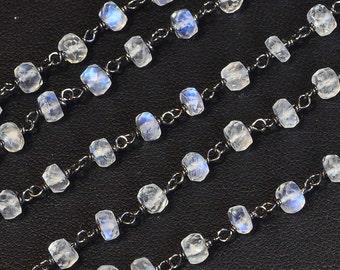 Rhodium Sterling Silver 4mm Ceylon Moonstone Gemstone Chain 18 INCH