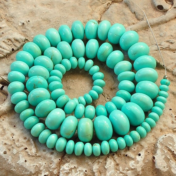 4-10.6MM Sleeping Beauty Turquoise Smooth Rondelle 15.5 inch strand