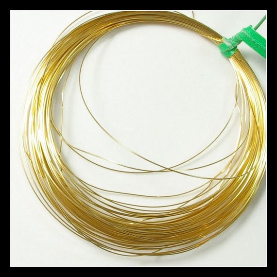 28 gauge 18k Solid gold Half Hard Round Wire 1 FOOT