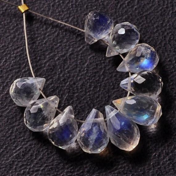 Rainbow Moonstone Faceted Drop Briolette Bead (10)