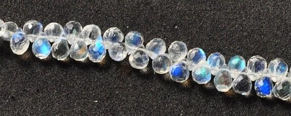 87ct Rainbow Moonstone Faceted Teardrop Briolette Bead 8