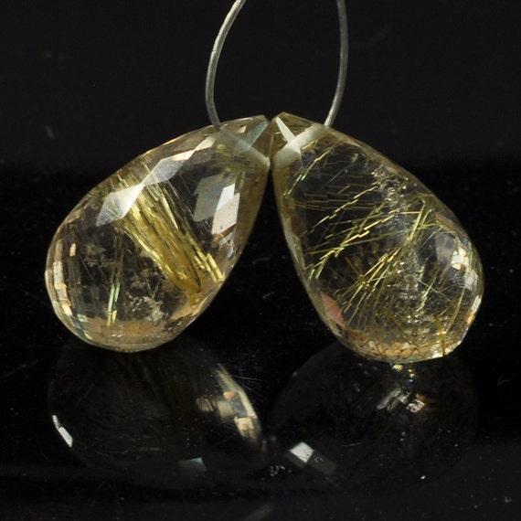 Golden Rutilated Quartz Teardrop Briolette Bead PAIR