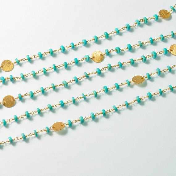 18k gold Vermeil 100% natural  Sleeping Beauty Turquoise Gemstone Chain 18 INCH