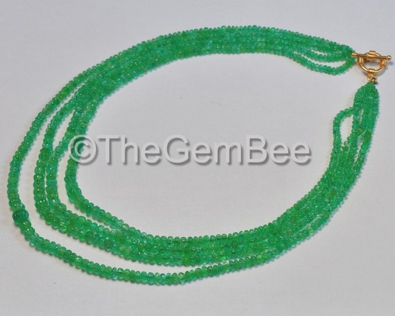3.3mm-8mm Colombian Emerald Carved Melon Rondelle Beads Necklace 18K Solid Gold