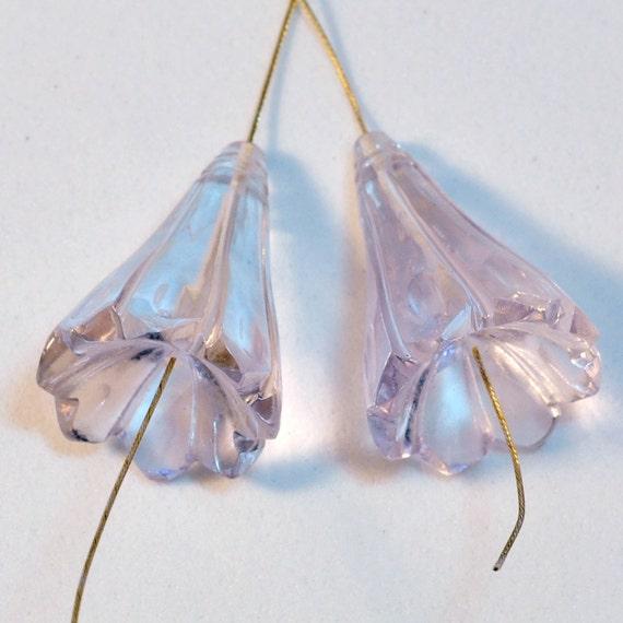 47CT Pink Amethyst Carved Flower Briolette Bead PAIR