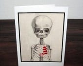 CUSTOMIZABLE Macabre Baby Skeleton With Heart Greeting Cards / Invitations