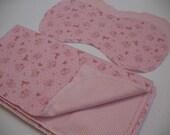 SALE - Pink Bunnies Hemstitched Receiving Blanket and Burp Cloths