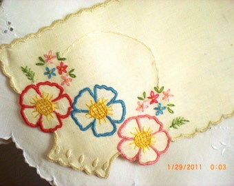 Embroidered Linen Collar or Chair Scarf