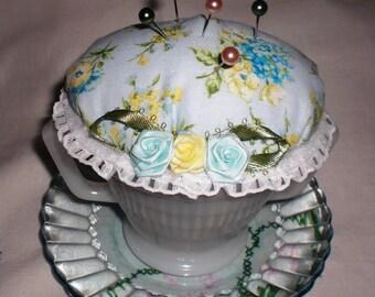 Vintage Milk Glass Sugar Bowl Pin Cushion