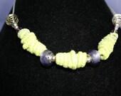 Linda Hill - 12 pale green fiber beads - Linda Hill