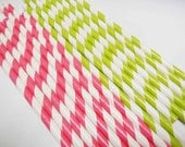 60 Lime Green & Hot Pink White Striped Paper Straws - Parties, weddings, graduations  FREE DIY Flags