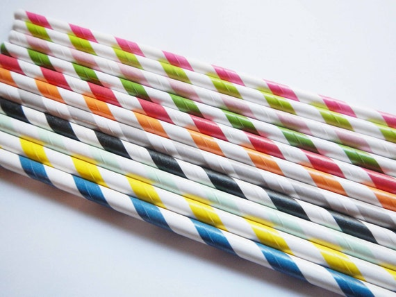 100 Assorted Rainbow Striped Paper Straws -  Your Pick -  Parties, weddings, graduations  FREE DIY Flags