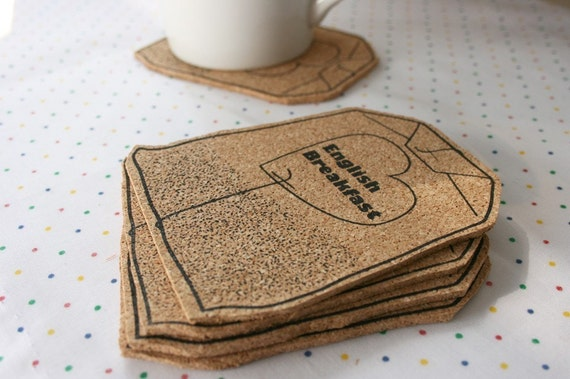 Tea bag coasters set - screen printed cork
