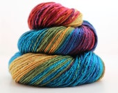 SALE 4.4 oz 3 Ply Handspun Lace Weight Mulberry Silk Yarn 320 Yards Self Striping Rainbow