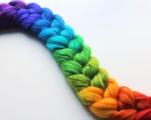 "Spinning Fiber Roving Hand Painted 50/50 Superwash Merino / Tussah Silk Top 2.55 oz - ""Prism Spectrum"""