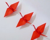 200 Small Origami Paper Cranes in Red