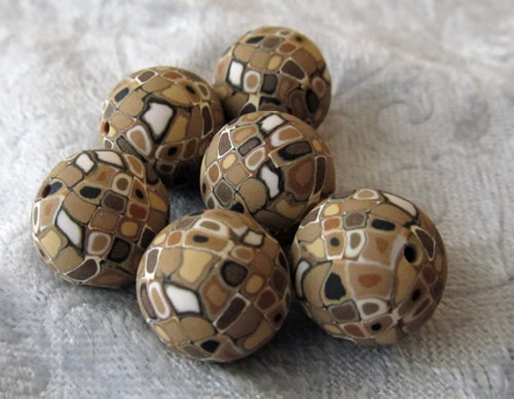 matte browns and white polymer clay beads