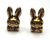 Mini Bowtie Bunny Rabbit Stud Earrings Vintage Jewelry