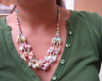 Multi Strand Shell Necklace - Vintage Beach Wedding