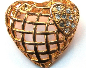 Vintage Brooch Gold Heart with Rhinestones Costume Jewelry