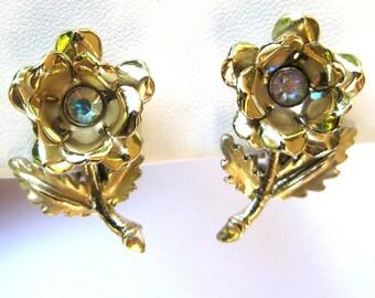 Vintage Aurora Borealis AB Flower Earrings Costume Jewelry