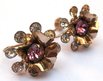 Vintage Pink and Clear Rhinestone Flower Earrings Costume Jewelry