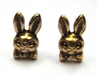 Mini Bowtie Bunny Rabbit Stud Earrings Vintage Jewelry