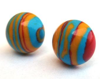 Funky Multicolor Rainbow Striped Post Earrings Model B
