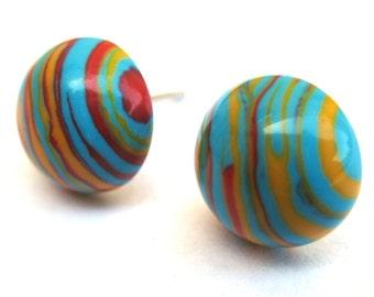 Funky Multicolor Rainbow Striped Post Earrings Model H