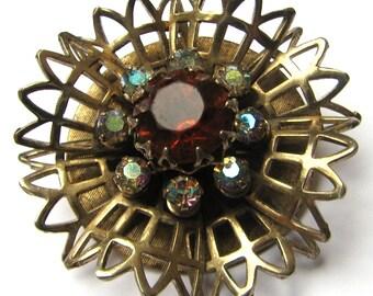 Vintage signed 1940 Coro snowflake/flower AB rhinestone brooch