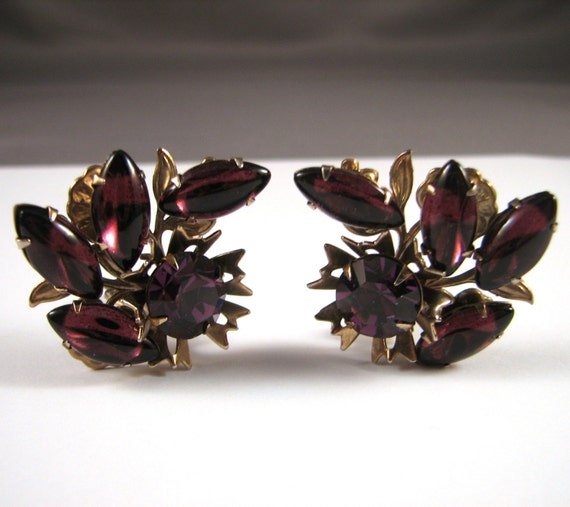 Vintage Rhinestone Flower Earrings, Purple, Aubergine on Gold Metal
