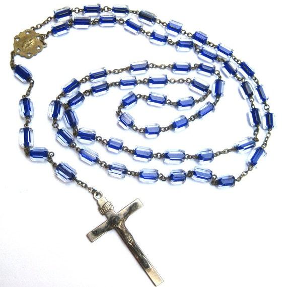 Antique Rosary Cobalt Blue Faceted Barrel Cut Crystals