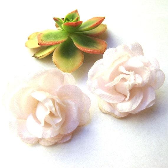 Pink Faux Flower Rose Earrings Vintage Costume Jewelry