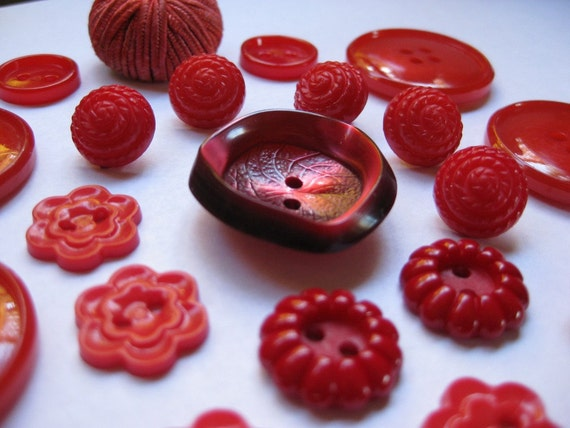 Lot of Vintage Red Plastic Sewing Buttons for Crafts Valentine's Day