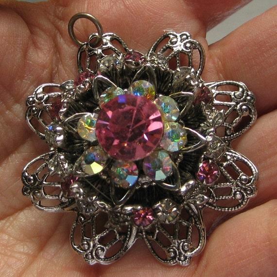 Vintage Layered Pink AB Rhinestone Filigree Pendant Costume Jewelry