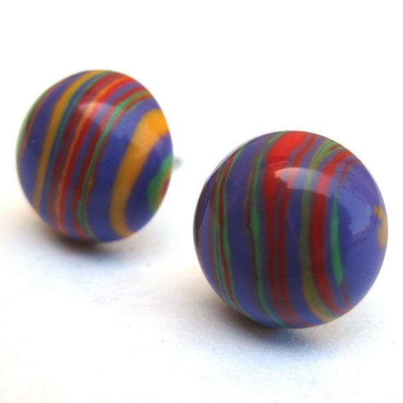 Funky Multicolor Rainbow Striped Post Earrings Model E