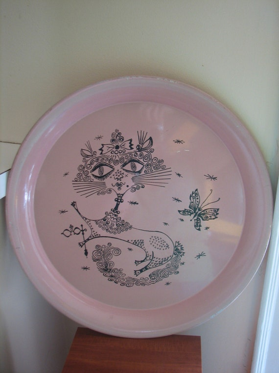 Retro kitsch funky hand painted pink kitty cat tray SALE SALE SALE