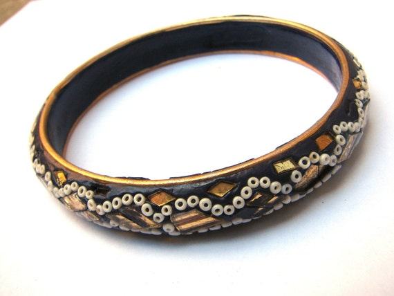 Vintage Cobalt Blue Mosaic Bangle Bracelet India