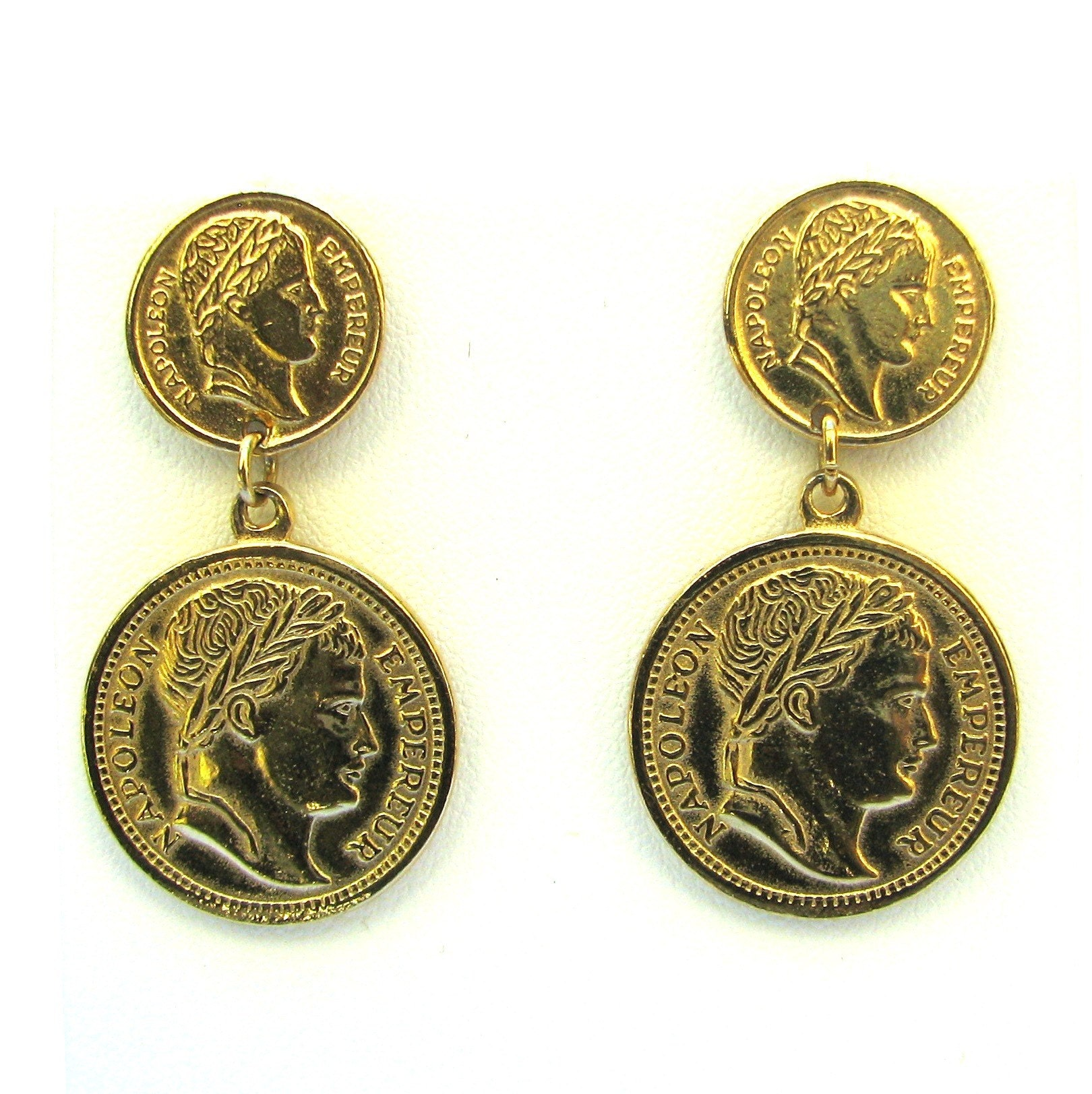 gold coin earrings vintage costume jewelry sale