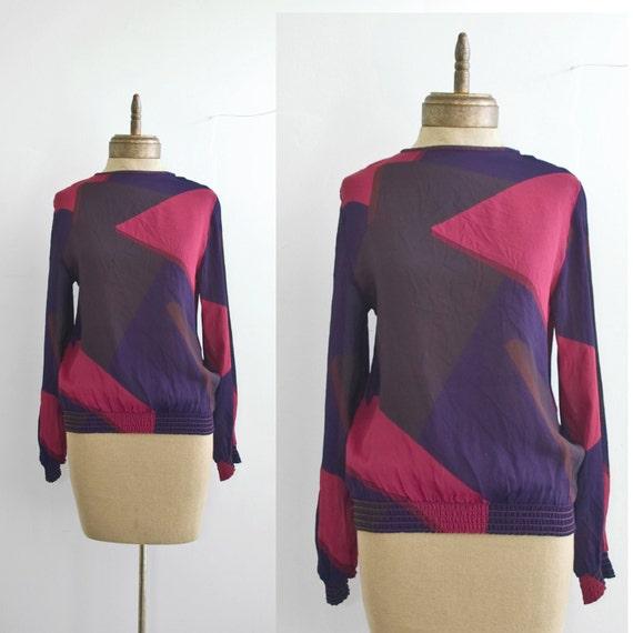 1980s vintage  color block abstract geometric BLOUSE sz M-L