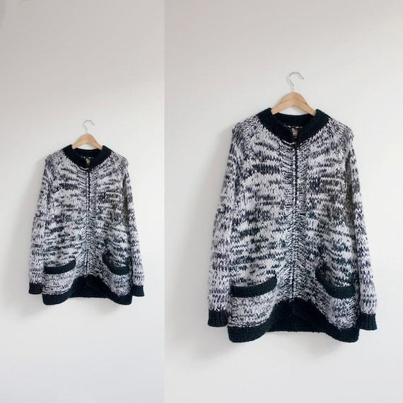 hand knit VINTAGE zip up cardigan sz L-XL