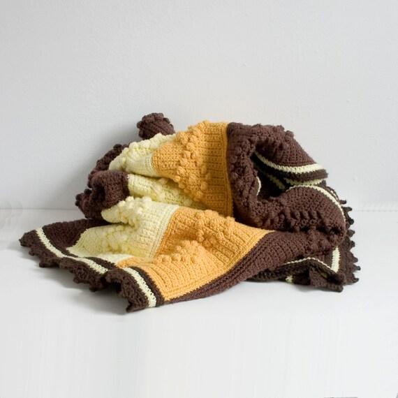 RESERVED LISTING cable knit & pom pom vintage  BLANKET
