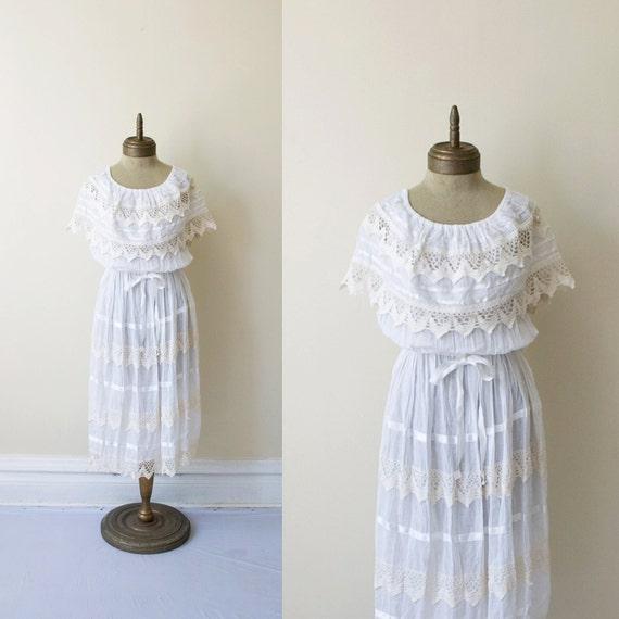 blanca VINTAGE tiered lace cotton gauze mexican DRESS sz L-XL