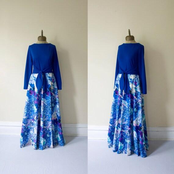 tori richards 1970s vintage abstract print hostess MAXI dress sz XL