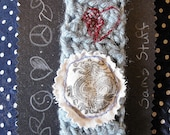 "HEADBAND BLUE DRAGON Crochet Embroidered Upcycled Vintage ""Dragon Love"""